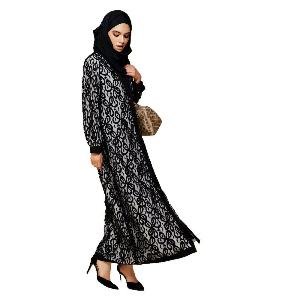 Wonder Lace Abaya With Scarf - BLACK WHITE XL