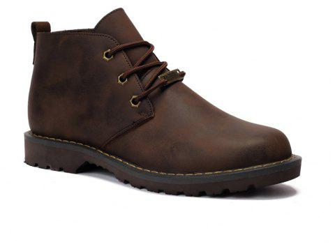 Boots Solid Color Durable Comfy Lacing Shoes - DEEP BROWN 40