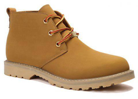 Boots Solid Color Durable Comfy Lacing Shoes - YELLOW 44
