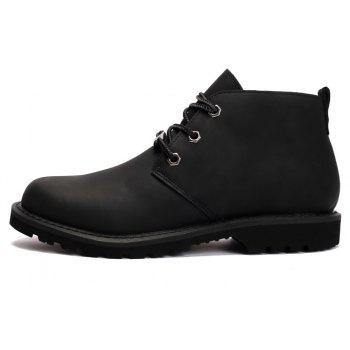 Boots Solid Color Durable Comfy Lacing Shoes - BLACK 39