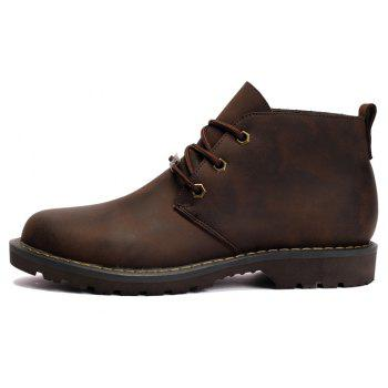 Boots Solid Color Durable Comfy Lacing Shoes - DEEP BROWN 44
