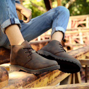 Boots Solid Color Durable Comfy Lacing Shoes - DEEP BROWN 42