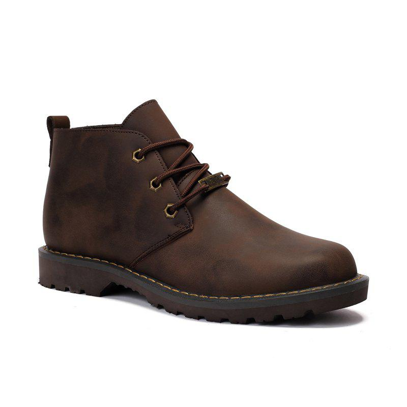 Boots Solid Color Durable Comfy Lacing Shoes - DEEP BROWN 39
