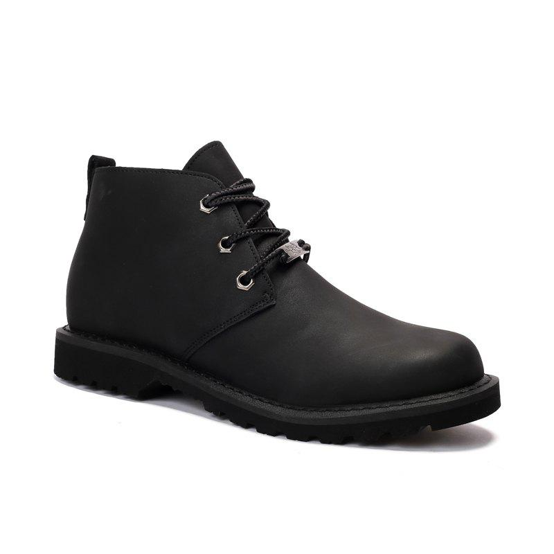 Boots Solid Color Durable Comfy Lacing Shoes - BLACK 40