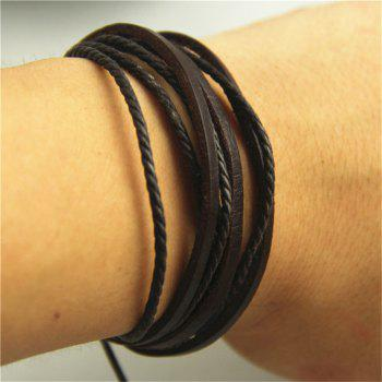 Three Leather Root Wax Rope Plus Multi-Layer Hand-Woven Men'S Leather Bracelet - BLACK