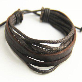 Three Leather Root Wax Rope Plus Multi-Layer Hand-Woven Men'S Leather Bracelet - BROWN