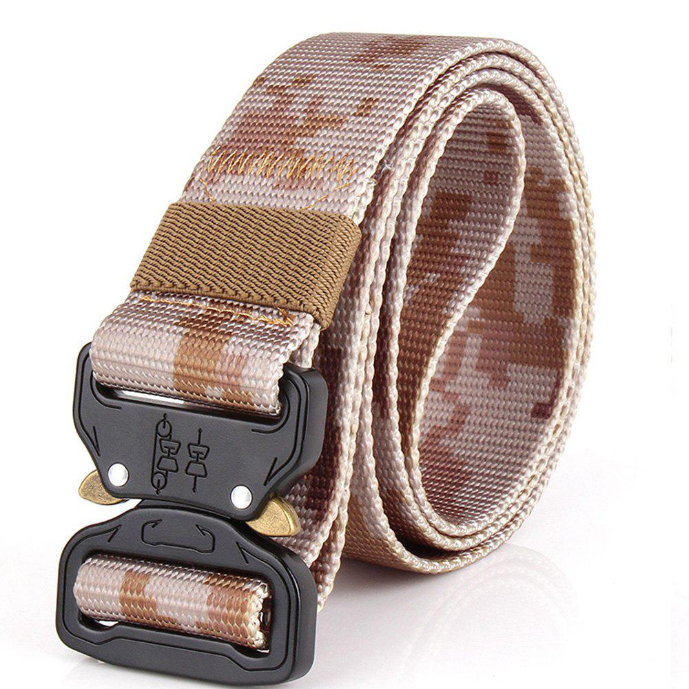 Men's Casual Outdoor Military Tactical Polyester Waistband Canvas Web Belt - CAMOUFLAGE GRAY