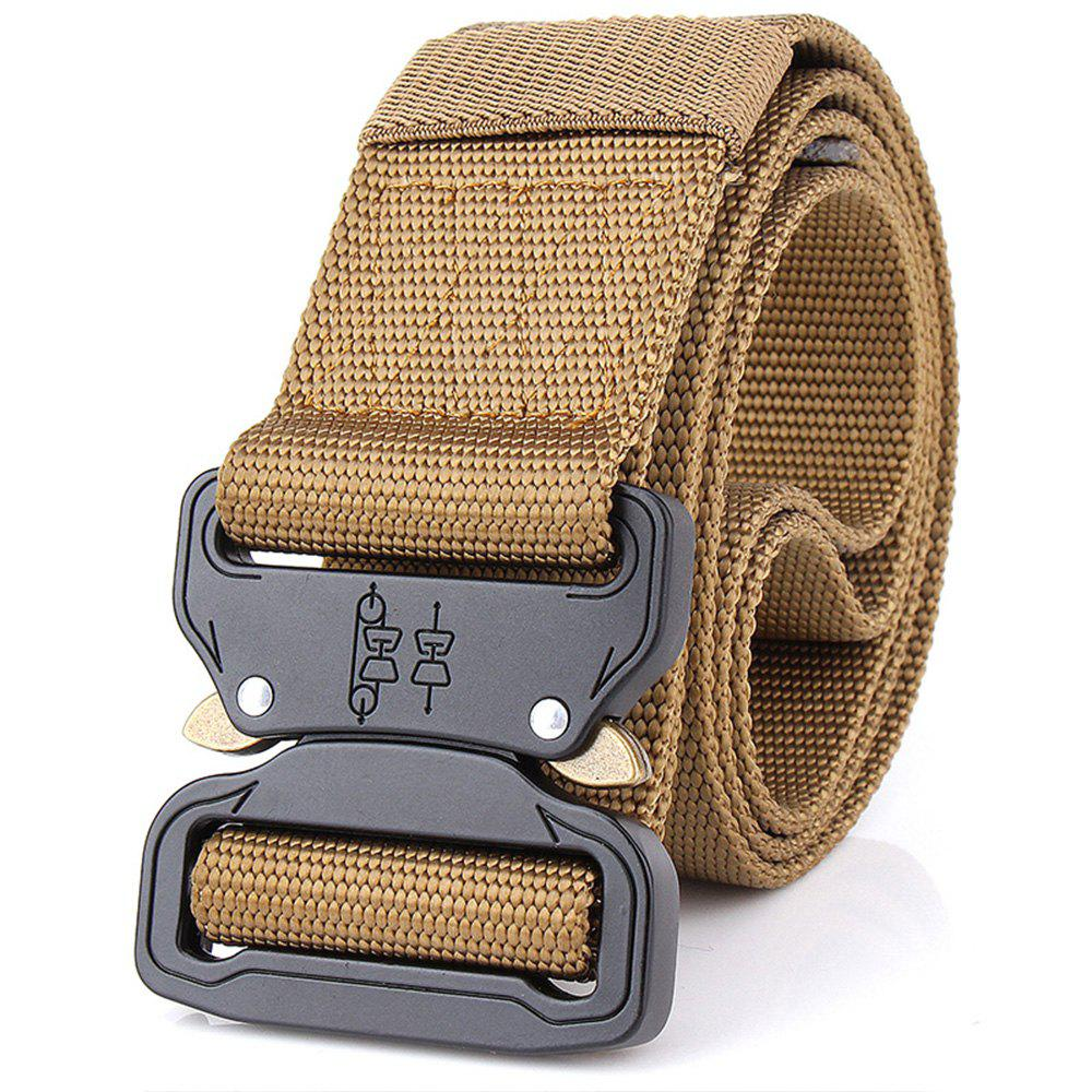 Aluminum Alloy Buckle Belt Men's Belt Nylon Training Waistband - BROWN