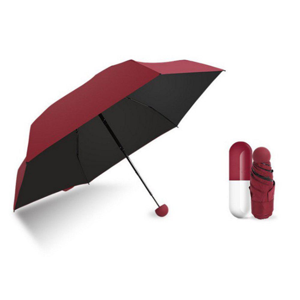 Mini Capsule Fashion Pocket Folding Sunny Rainy Women Female UV Umbrella Sunshade Parasol New Arrival Creative Quality - WINE RED