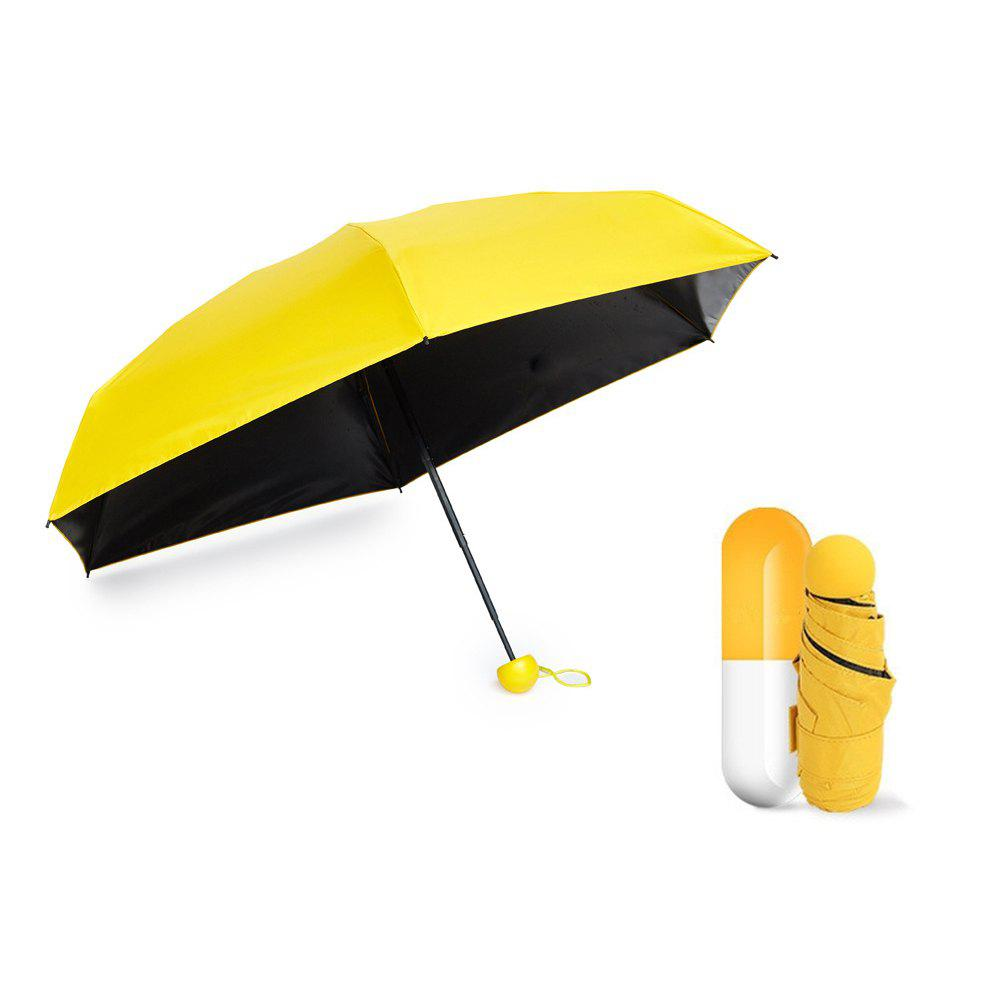 Mini Capsule Fashion Pocket Folding Sunny Rainy Women Female UV Umbrella Sunshade Parasol New Arrival Creative Quality - YELLOW