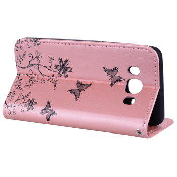 for Samsung Samsung Galaxy J5 2016 Butterfly Pattern PU Leather Wallet Flip Protective Case Cover with Card Slots - ROSE GOLD