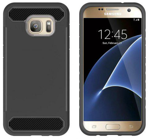 for Samsung Galaxy S7 Shockproof  Hard PC Flexible TPU Laminated Carbon Fiber Chrome Anti-scratch Protective  Case - BLACK