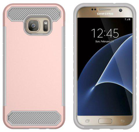 for Samsung Galaxy S7 Shockproof  Hard PC Flexible TPU Laminated Carbon Fiber Chrome Anti-scratch Protective  Case - ROSE GOLD