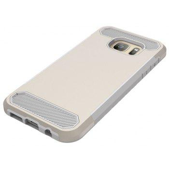 for Samsung Galaxy S7 Shockproof  Hard PC Flexible TPU Laminated Carbon Fiber Chrome Anti-scratch Protective  Case - GOLDEN