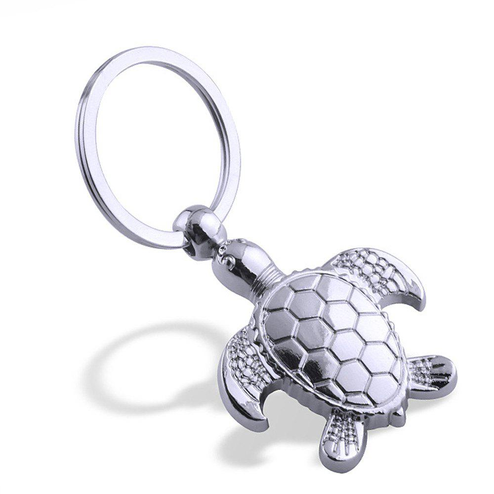 Fashion Design Sea Turtle Keychain Metal Key Ring Creative Gift - SILVER