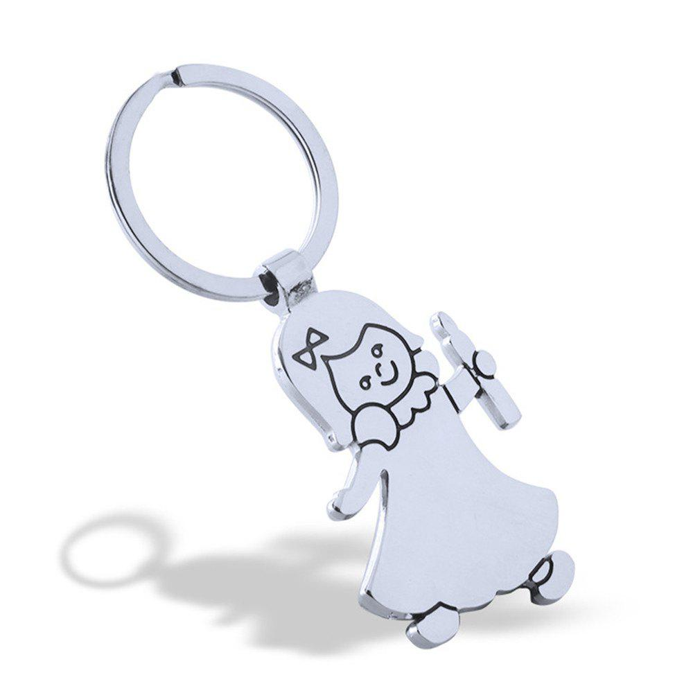 Cute Girl Keychain Metal Key Ring Creative Gift - SILVER