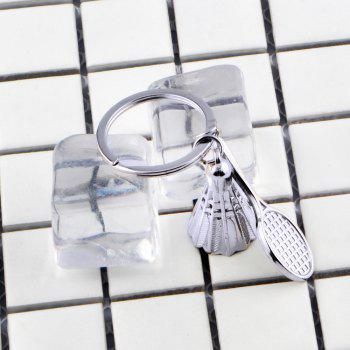 Fashion Badminton Keychain Metal Key Ring Creative Gift - SILVER