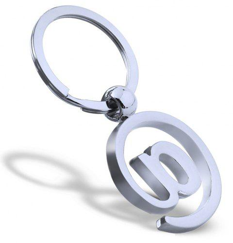 Letters Keychain Metal Key Ring Creative Gift - SILVER
