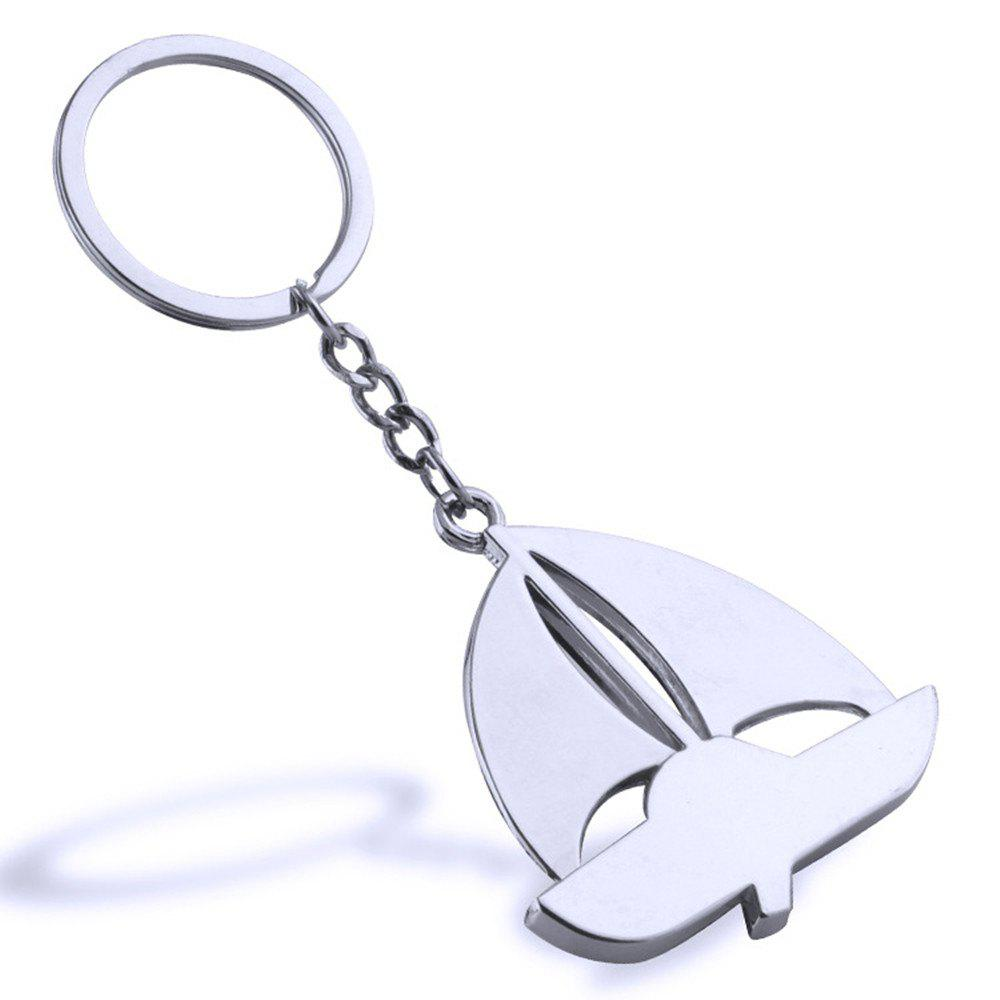 Sailing Metal Keychain Metal Key Ring Creative Gift - SILVER