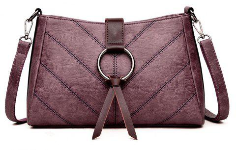 Soft Leather Middle-aged Mother Messenger Bag - PURPLE