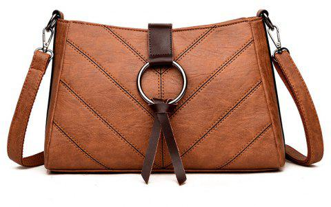 Soft Leather Middle-aged Mother Messenger Bag - BROWN
