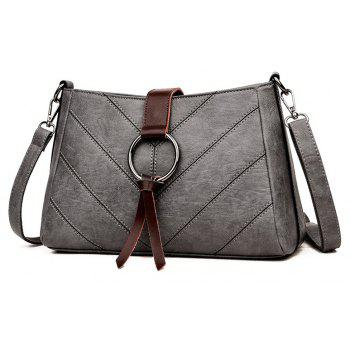 Soft Leather Middle-aged Mother Messenger Bag - GRAY