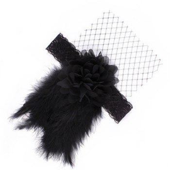 The new bud silk nets flower feather headband - BLACK