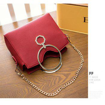 Women's Fashion Crossbody Bag PU Leather Purses Shoulder Tote Chain Strap Bag - RED