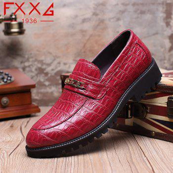 Fashion Flat Bottomed Single Leather Shoes - RED 38