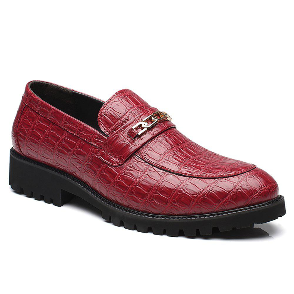 2018 Fashion Flat Bottomed Single Leather Shoes Red In Casual Stylish 44