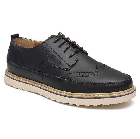 Pattern Casual Leather Shoes - BLACK 42