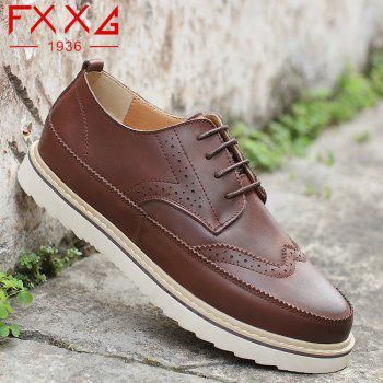 Pattern Casual Leather Shoes - BROWN 42