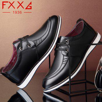 Low Help Single Shoe Casual Leather Shoes - BLACK 38