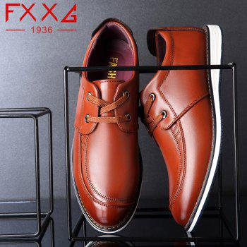 Low Help Single Shoe Casual Leather Shoes - BROWN 40