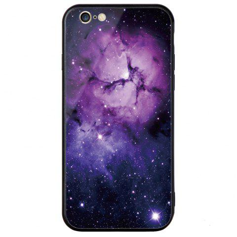 Starry Painted Toughened Glass TPU Mobile Phone Case for iPhone 6 Plus - PURPLE