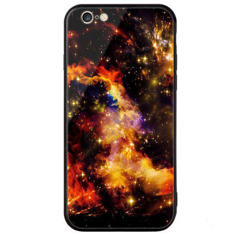 Starry Painted Toughened Glass TPU Mobile Phone Case for iPhone 6 Plus - YELLOW