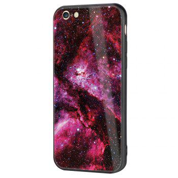 Starry Painted Toughened Glass TPU Mobile Phone Case for iPhone 6 Plus - RED