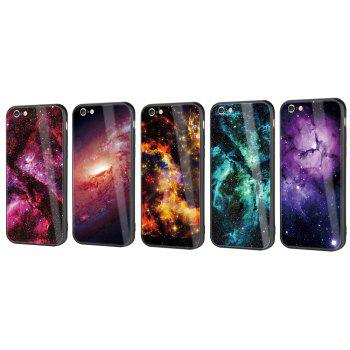 Starry Painted Toughened Glass TPU Mobile Phone Case for iPhone 6 Plus - PINK