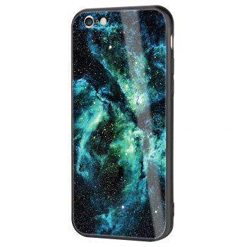 Starry Painted Toughened Glass TPU Mobile Phone Case for iPhone 6 - GREEN