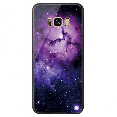 Starry Painted Toughened Glass TPU Mobile Phone Case for Samsung S8 Plus - PURPLE