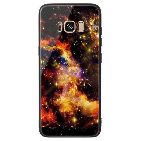 Starry Painted Toughened Glass TPU Mobile Phone Case for Samsung S8 Plus - YELLOW