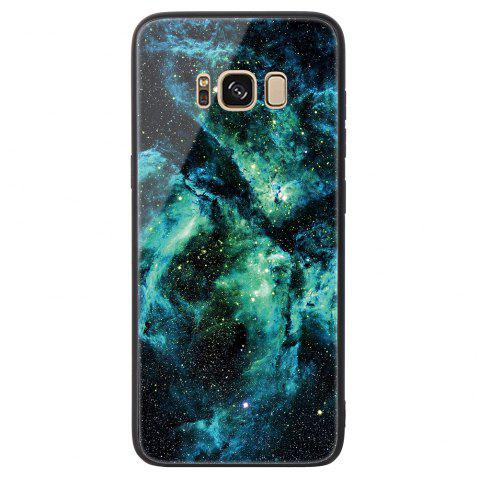 Starry Painted Toughened Glass TPU Mobile Phone Case for Samsung S8 Plus - GREEN