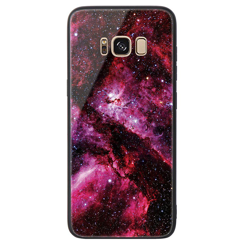Starry Painted Toughened Glass TPU Mobile Phone Case for Samsung S8 Plus - RED