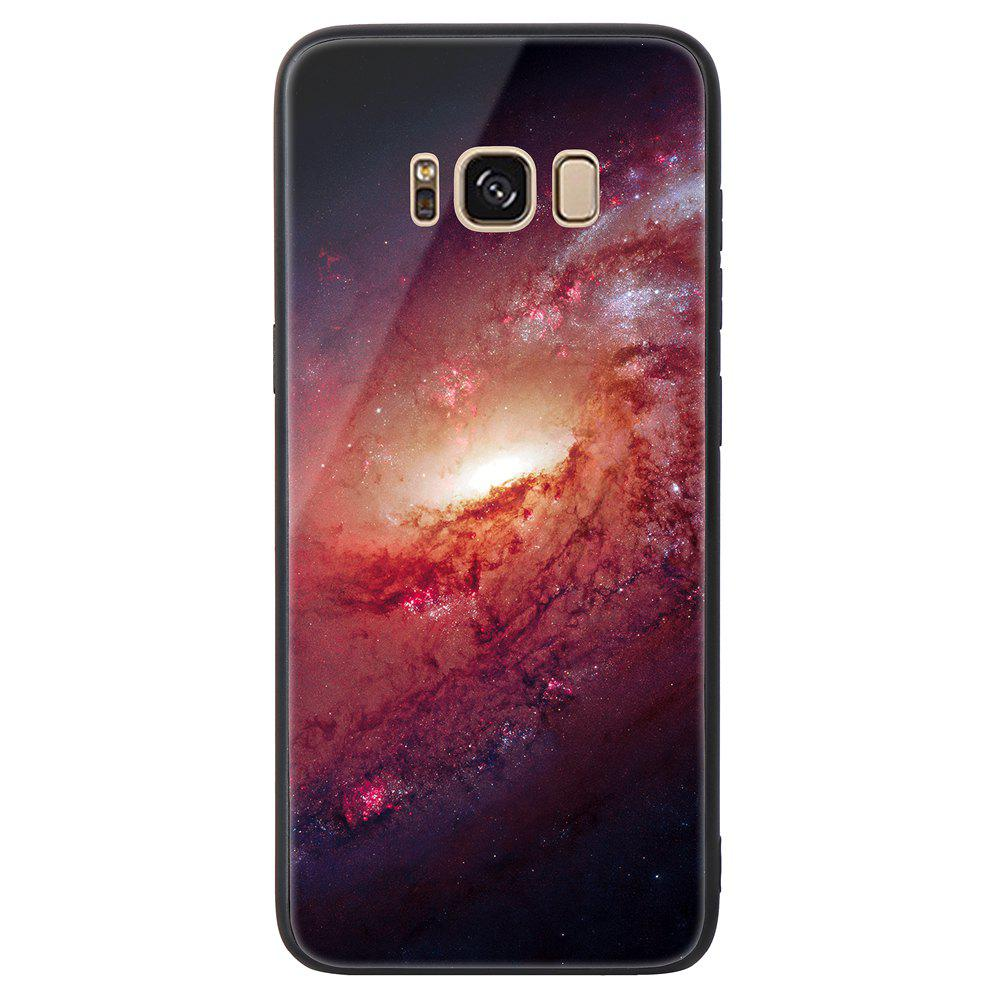 Starry Painted Toughened Glass TPU Mobile Phone Case for Samsung S8 Plus - PINK