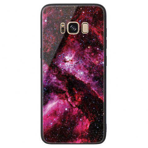 Starry Painted Toughened Glass TPU Mobile Phone Case for Samsung S8 - RED