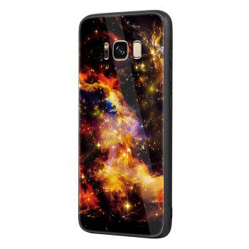 Starry Painted Toughened Glass TPU Mobile Phone Case for Samsung S8 - YELLOW