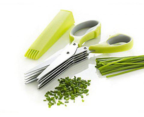 Herb Scissors Multipurpose Kitchen Mincing Shear 5 Blades and Cover Stainless Steel - GREEN