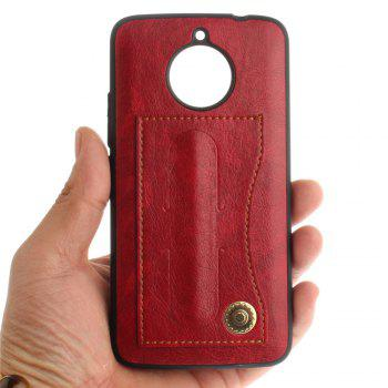 Case Cover for MOTO E4 Plus The Eu Version Luxury PU Leather with Stand and Card Slots - RED