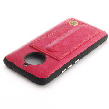 Case Cover for MOTO E4 Plus The Eu Version Luxury PU Leather with Stand and Card Slots - ROSE RED