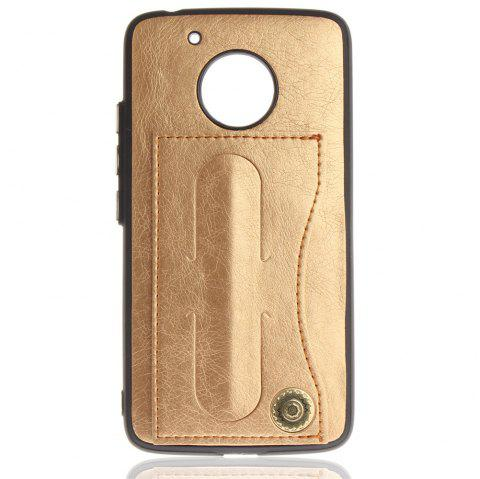 Housse de protection pour MOTO G5 Luxury PU Leather avec support et fentes pour cartes - Or